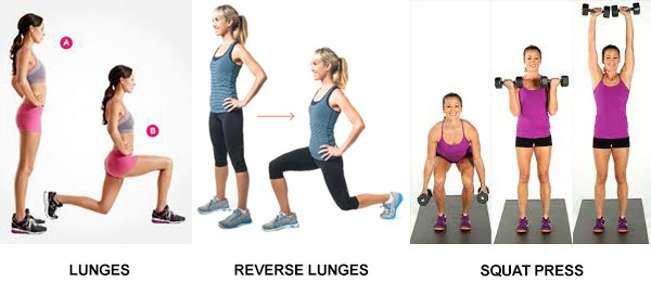 Lunges, Reverse Lunges, Squat Press