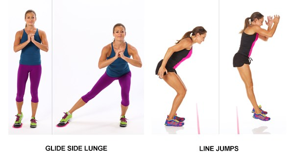 Glide Side Lunges and Line Jumps
