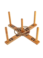 Jenjo Giant Wooden Rope Ring Toss Quoits Outdoor